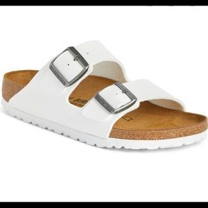 Gently used white Birkenstock sandals!
